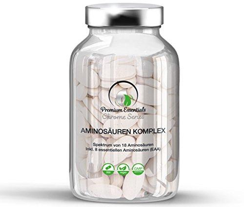 Premium Essentials Aminosäuren-Komplex (BCAA u. weitere Aminos), 200 Tabletten (vegan) á 1000mg | Alle 18 Aminosäuren inkl. aller 8 essentiellen Aminosäuren, hergestellt in Deutschland -