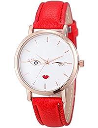 Relojes Pulsera Mujer, Xinan Cuero Analógico de Acero Inoxidable Reloj de Pulsera de Cuarzo (Rojo)