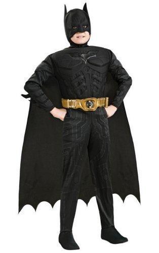 Jungen Kostüm Batman Dark Knight Rises Deluxe Muskel Brust Superheld Verkleidung 1-10 Jahre - 3-4 Jahre, Schwarz (Batman Muskel Kostüme)