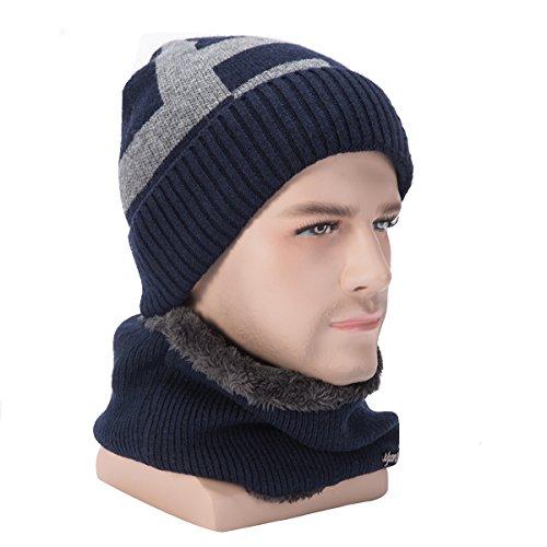 WinCret Warme Wintermütze, Beanie Mütze Kurzschal Set mit Flauschige Fleecefutter - Strickmütze und Loop Gestrickt Schal für Herren Damen