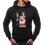OverDose Damen Pullover Bluse Herren Langarm Weihnachten Partei Bar Cosplay Schlank Charming Casual Sweatshirt Hoodies Trainingsanzüge Für Herbst Winter(Schwarz,EU-46/CN-L )
