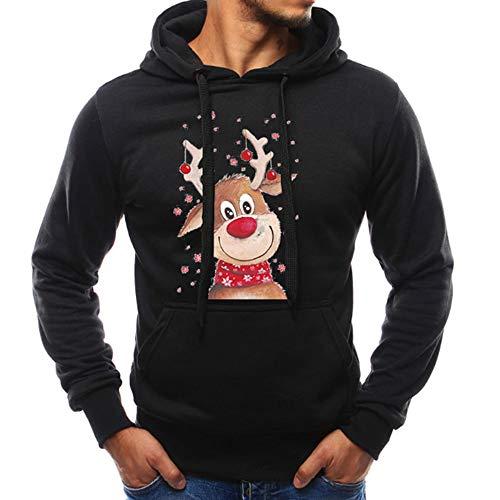 (OverDose Damen Pullover Bluse Herren Langarm Weihnachten Partei Bar Cosplay Schlank Charming Casual Sweatshirt Hoodies Trainingsanzüge Für Herbst Winter(Schwarz,EU-44/CN-M ))