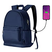 HAWEE Travel Laptop Backpack Anti-Theft Rucksack Bag for Men/Women Business Travel Computer Bag Casual Backpack with USB Charging Port Fit 15.6-Inch Laptop and Notebook (Blue)
