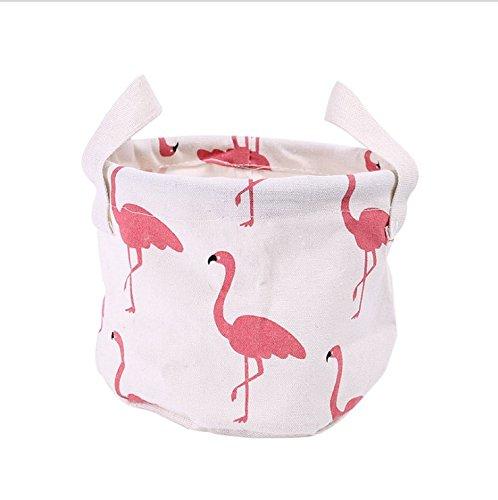 Fangou 1X Aufbewahrungsbox Leinen Material Faltbare Mini Cosmetic Case Cosmetic Organizer Wasserdichtes Gewebe Aufbewahrungsbox Kinder Spielzeug Lagerung Rund, weiß, Flamingo