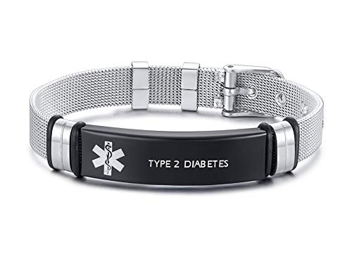 XUANPAI Edelstahlarmbandarmband Angepasst Medical Alert Notfall Link Armband Einstellbar Graviert mit Type 2 Diabetes (Medical Alert)