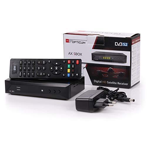 Opticum AX SBOX HD HDTV digitaler Satelliten-Receiver (DVB-S/S2, SAT, HDMI, SCART, USB 2.0, Full HD 1080p, 12V, Mediaplayer) [vorprogrammiert für Astra Hotbird] mit Aufnahme und Timeshift - schwarz