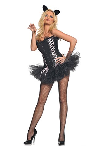 Halloween Kost¨¹m Party Kleidung Festival Fasching Karneval Cosplay Sexy Damen Retro Mode Fun Kost¨¹m Wild Sexy Kitty Mini Kleid (Bustier+Tutu+Katzenohren) Gr??e XL 18-20