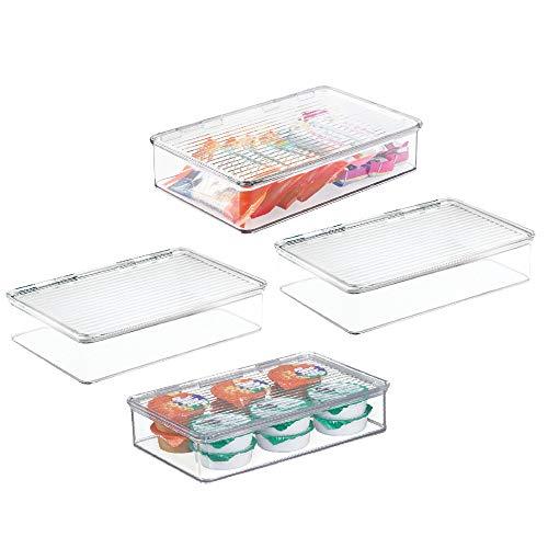 mDesign Set da 4 Contenitori ermetico con coperchio – Contenitore per alimenti ideale come contenitore frigo o per dispensa – trasparente