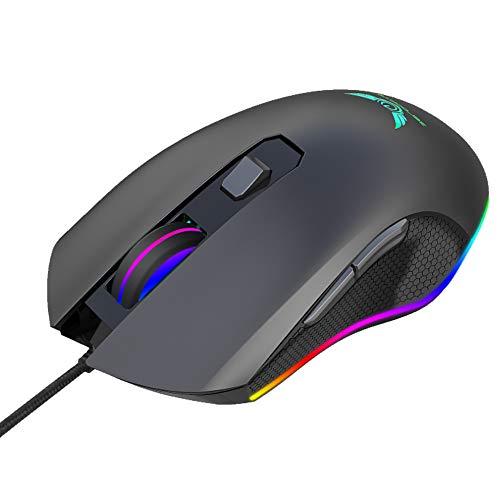 LANTELSHANO RGB-Gaming-Maus 6-Taste 4-Gang 1000-6400 DPI Regelbarer Freie Feinabstimmung Technologie Und Ergonomisches Design LED-Optische Maus Geeignet Für Home-Office