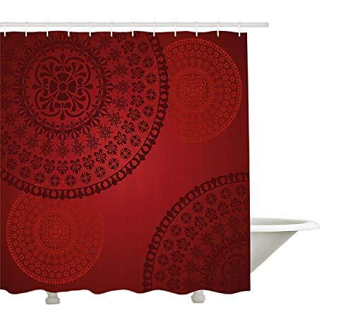GWFVA Tenda da Doccia Bordeaux, Motivo Floreale Orientale Antico Stile Mandala, Disegno Artistico Tradizionale, Arredamento Bagno in Tessuto con Ganci, Rosso Bordeaux