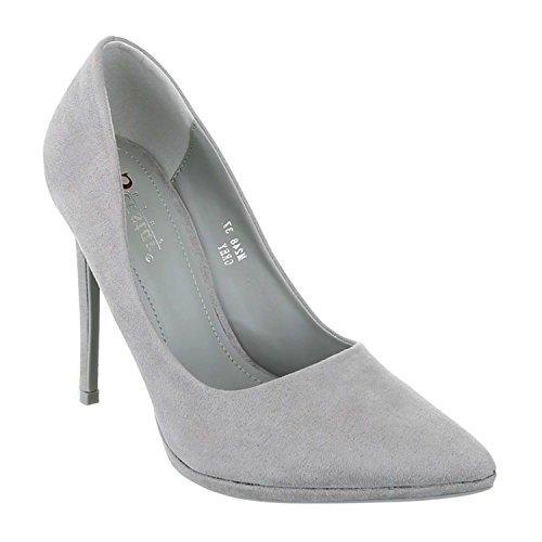 Klassische Damen Stilettos Lack Pumps High Heels Plateau Schuhe Spitz Bequem 50-2 Grau 70