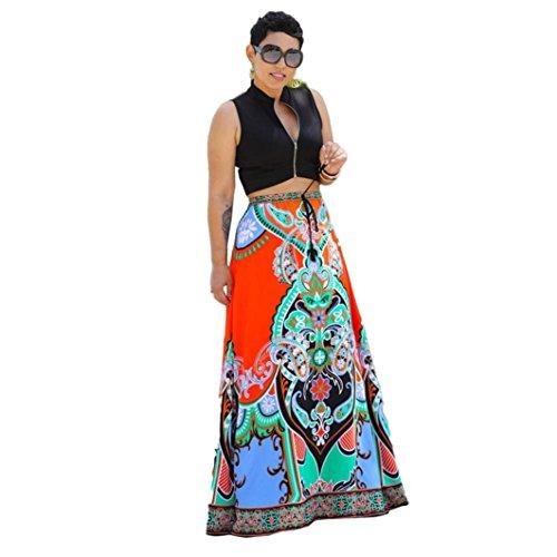 Damen Rock❀Dragon868 Frauen Sommer Casual traditionellen afrikanischen Print Strandrock Maxi Kleid langen Bodenlänge Rock (Schwarz, Freie Größe) (Rock Print Layered)