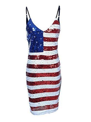 rot-weiß-blau Sterne Streifen Miss America Flag Pailletten Kleid - Rot, one size (Miss Usa Kostüm Für Kinder)