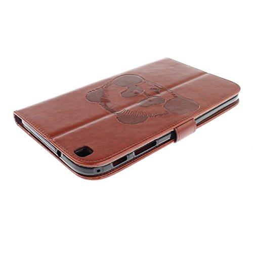 Samsung Galaxy Tab 3 8.0 T310 Coque,Samsung Galaxy Tab 3 8.0 Housse,Ekakashop Ultra-Mince Design Animé Mignon Motif Panda Noir PU Cuir Protecteur Shell Case Tablette à Rabat Fermeture Magnétique Plast Panda Brun
