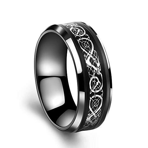Yhjklm anello da uomo banda di anelli di carburo di tungsteno di drago celtica di drago verde brillante in fibra di carbonio da uomo 8mm verde brillante band ring (colore : argento, dimensione : 6)