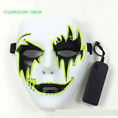 MYLEDI LED-Maske Halloween-Kostüm Augenbrauen-Einzelmaske Mit Controller (Ohne Batterie) 4 Steuermethoden, Geeignet Für Halloween-Karnevalsmaskerade Und So Weiter,Grün,L (Kostüm Controller)