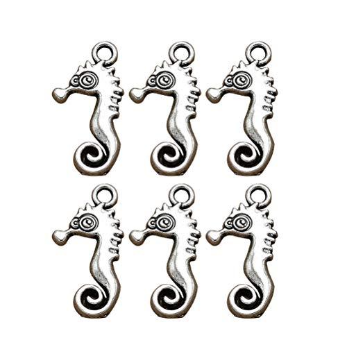 TENDYCOCO 20 stücke Sea Horse Charm Legierung Retro Charms Perlen Schmuck Machen für Pendent Halskette Armband (Antik Silber)