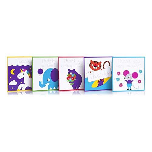 Love Writing Co Dankeskarten für Kinder im Alter von 3 bis 8 Jahren, wiedererkennbar, 10 Stück