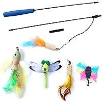 OWUDE Juguete pluma de gato, juguete retractable de la varita 5 cabeza de reemplazo y cada uno con una campana para el gatito de los gatos