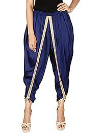 Khazana Basics Women's Navy Blue Color Satin Silk Dhoti Pant