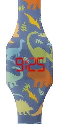 Digitale Uhr LED für Junge, Kinder und Jugendliche, Armbanduhr, aus weichen Silikon, ein stilvolles Geschenk, mit Dinosauriers, Kiddus