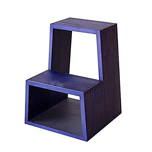 Geeks Scaletta 2 gradini in Legno massello - Scarpe per Cambio Multifunzione Panchina Ingresso Sgabello da Cucina capacità 150 kg (4 Colori) (Colore: Rosso) @ Viola