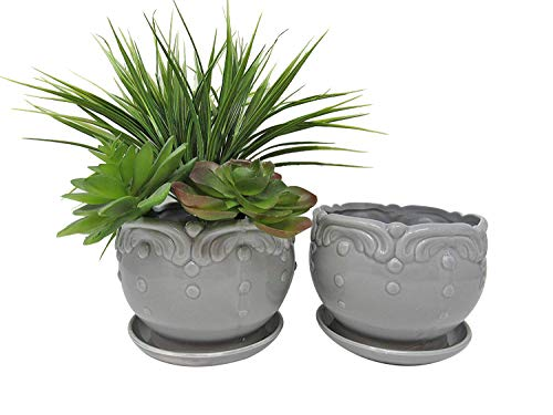 Ashes To Beauty Blumentöpfe aus Keramik für Gartenblumen, Sukkulenten, Kaktuspflanze, mit Abflussloch und Untersetzer, 2 Stück Large grau -
