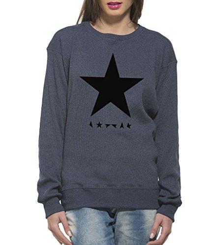 Clifton Women's Printed Sweat Shirt R-neck -Blue Melange-Black Star-6XL