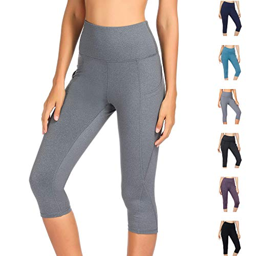 WateLves Damen Hohe Taille Sport Hose 3/4 Yoga Leggings Capri mit Tasche Jogginghose Stretch Workout Fitness(Hellgrau, L) (Leggings Fashion Capri Frauen Für)