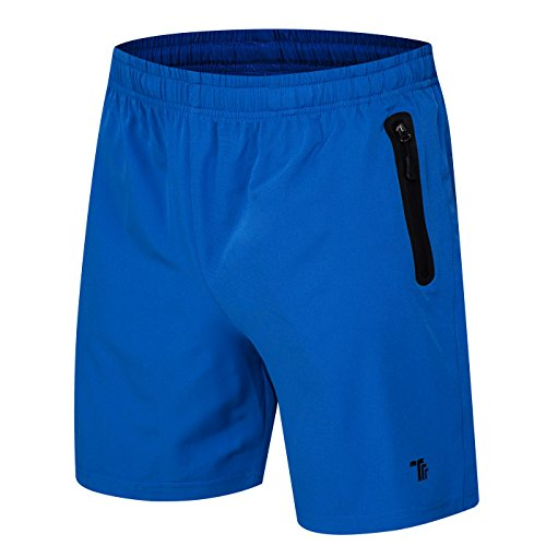 donhobo Kurze Hosen Herren Shorts Sport Trainingsshorts Fitness Short Sporthose mit Taschen Rei?Verschluss(01Blau,XL)