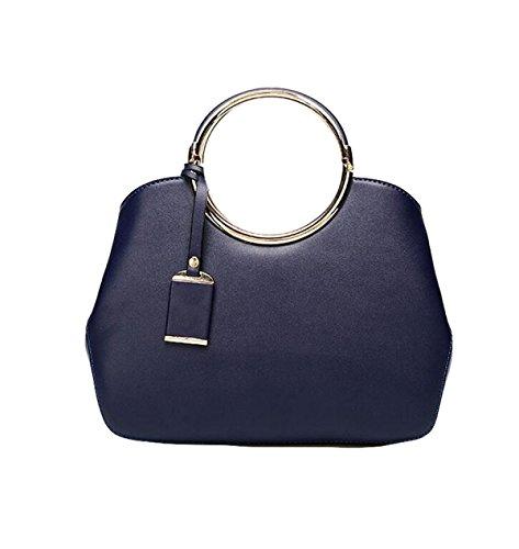 Wearable Wasserdichte Runde Metall Griff Tasche Schultertasche Einfache Kleine Runde Tasche Blue