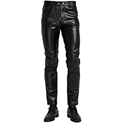 Zhhlinyuan Hombres Soft Cuero de PU Pantalones de Moto Velvet Lined Casual Skinny Pants with Multi Pockets Slim Fit