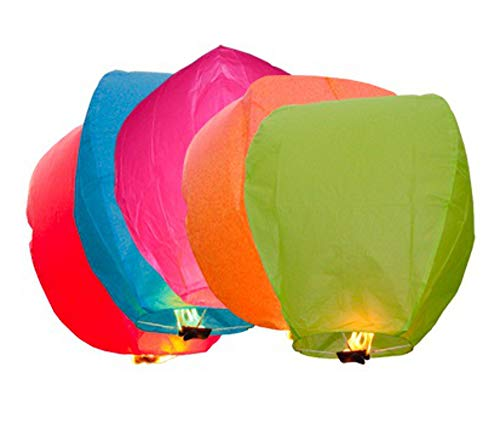 MIXED Colour Lanterns - Eco Friendly Lanterns for Christmas, New Years Eve, Chinese New Year, Weddings & Parties, Chinese Lanterns (20 Pack)