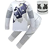 Thombase DJ Marshmello Mask Full Face Cosplay Costume Carnaval Halloween Clothes Set (white1, 140(130-140cm))