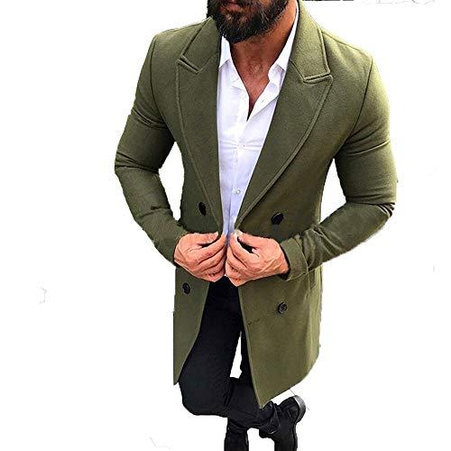 SOLELING Cappotto Smart Overcoat per Uomo Autunno E Inverno da in Lana  Verde Militare Giacche Imbottito a686284d763