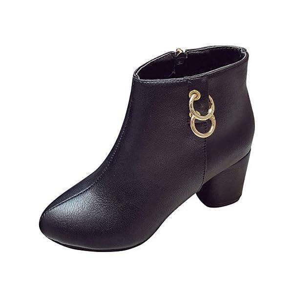 d3534e1baa4c8 MYMYG Damen Stiefeletten Martain Boot Frauen Runde Spitze High Heel Schuhe  einfarbig Wildleder Stiefel Zipper Boot Chelsea Boots Schneeschuhe Ankle ...