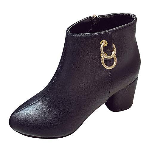 MYMYG Damen Stiefeletten Martain Boot Frauen Runde Spitze High Heel Schuhe einfarbig Wildleder Stiefel Zipper Boot Chelsea Boots Schneeschuhe Ankle Boots mit Halbhohe Blockabsatz