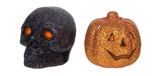 Halloween Kürbis + Totenkopf 2 LED Teelichter, Halloween Pumpkin + Skull 2   LED Tealights, Citrouille d'Halloween + bougies chauffe-plat 2 LED