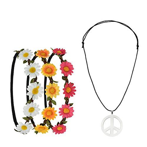 Pretop 3 Daisy Blumen Stirnband + 1 Kette Peace-Zeichen aus Metall, Ø 5cm, Blumenkranz | Blumenkranz | Haarband | Blumenkrone | Blumen | Kranz | Haarschmuck, für Karneval, 70er jahre ()