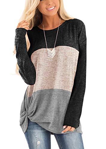 Yidarton Damen Kurzarm T-Shirt Casual Patchwork Sommer Lose Shirt Asymmetrisch Oversize Oberteile (B-Schwarz&Grau, XL) -