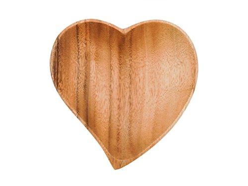 Holzteller in Herzform - Akazienholz - Fair Trade (17cm)