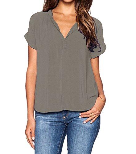 ASCHOEN Damen Casual Bluse Chiffon Shirt Oberteil Tops T-Shirt