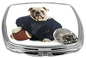 Rikki Knight Compact Mirror, Bulldog In Football Gear