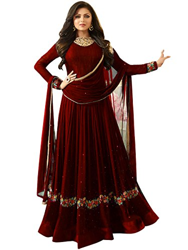 Multi Retail Maroon Fancy Embrodiery Faux Geogette Semi-Stitched Anarkali Salwar Suit With...