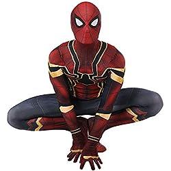 BLOIBFS Déguisement pour Enfants Spider Man Costume Cosplay Homme Costume Cosplay Spiderman Costume 3D Print Carnaval Costume Halloween Child-Red-S