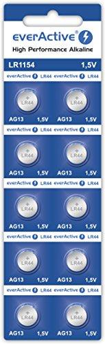 everActive AG13 1.5V, 10x Batterien, Alkaline, Mini, G13 LR1154 LR44, 4 Jahre Haltbarkeit, 10 Stück - 1 Blisterkarte