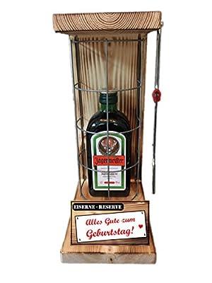 """""""Alles Gute zum Geburtstag"""" Die Eiserne Reserve mit einer Flasche Jägermeister 0,35L incl. Bügelsäge zum aufschneiden des Metallgitters - Das ausgefallenes witziges originelles lustiges Geschenk Geschenkset Flaschenkorb für über 170 verschieden Anlässe -"""