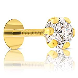 Gehlot Round Shape White Diamond 14K Pure Yellow Gold Nose Pins Studs,Diamond Nose Pins For Women And Girl (white teeth round)