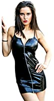 xxxquisite SEXY BLACK FAUX LEATHER PVC PARTY DRESS Zipped WET LOOK Clubwear