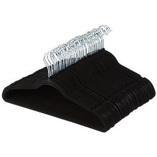 AmazonBasics Kleiderbügel für Anzug / Kostüm, mit Samt überzogen, 50er-Pack, Schwarz